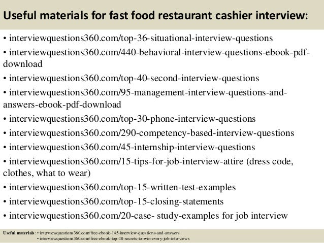 13 useful materials for fast food restaurant cashier interview