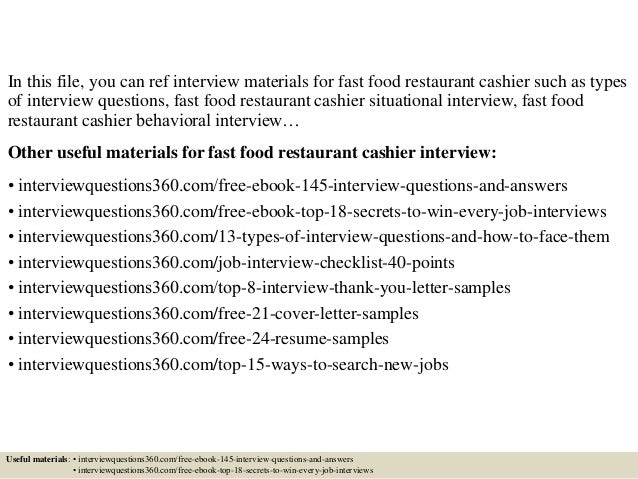 Top 10 Fast Food Restaurant Cashier Interview Questions And Answers  Restaurant Interview Questions