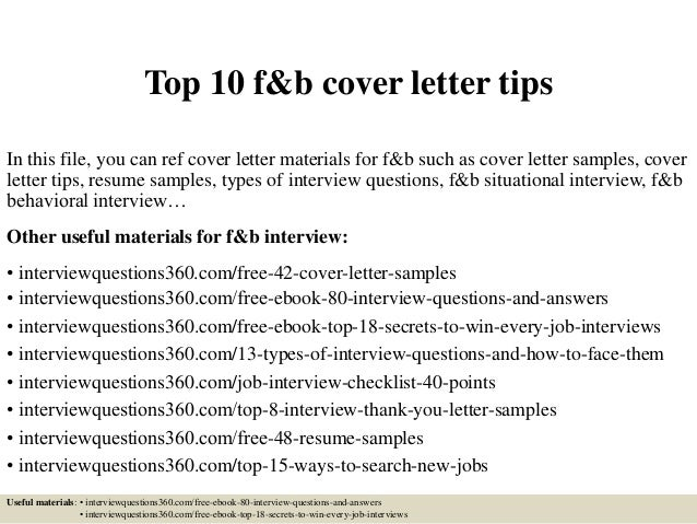 Top 10 F&b Cover Letter Tips