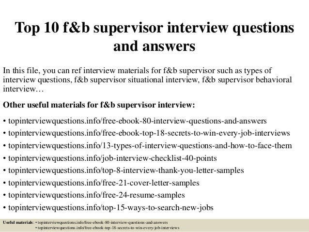Top 10 F Amp B Supervisor Interview Questions And Answers