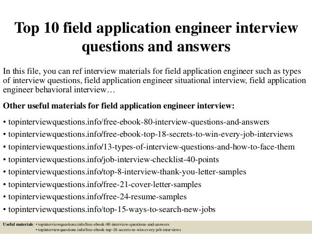 Top 10 field application engineer interview questions and answers In this file, you can ref interview materials for field ...