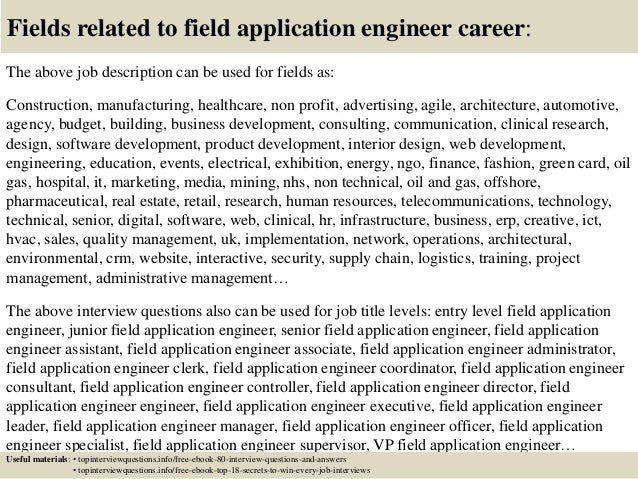 Exceptional ... 17. Fields Related To Field Application Engineer Career: The Above Job  Description ...