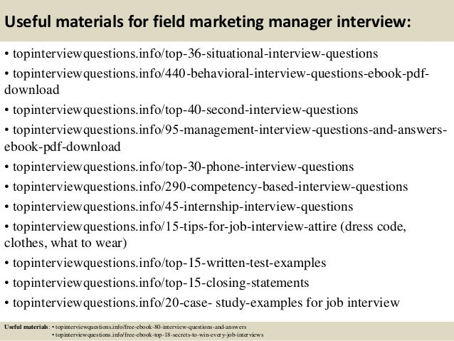 12 useful materials for field marketing manager interview - Marketing Manager Interview Questions And Answers
