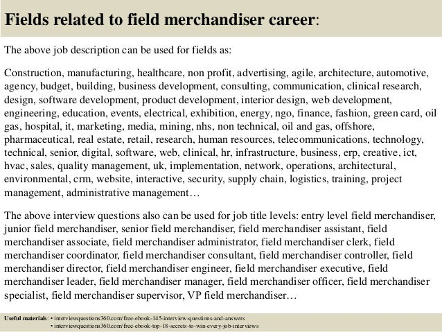 18 fields related to field merchandiser career the above job description - Job Description For Merchandiser