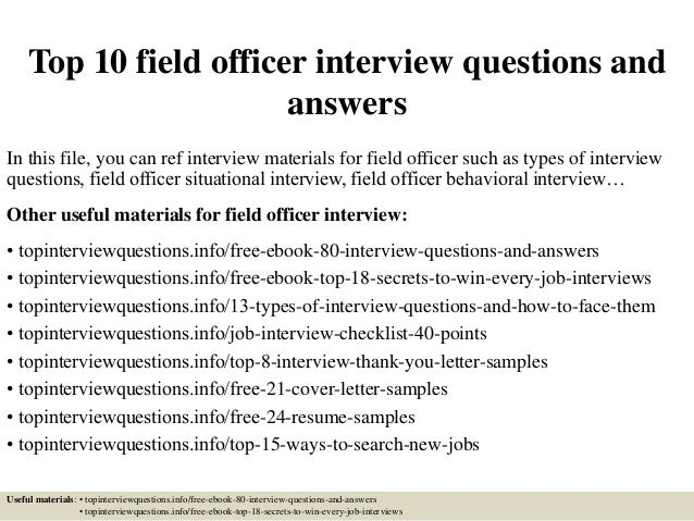 top 10 field officer interview questions and answers