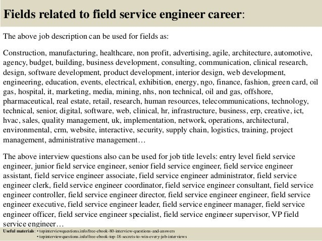 17 fields related to field service engineer career the above job description - Mri Field Service Engineer Sample Resume