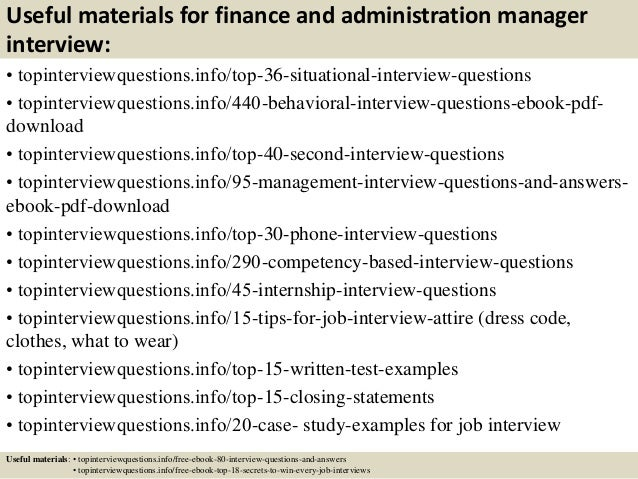 Top 10 finance and administration manager interview ...