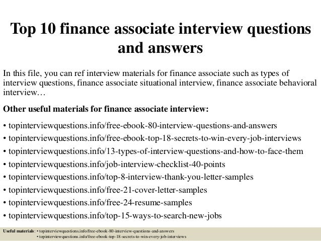 Top 10 Finance Associate Interview Questions And Answers