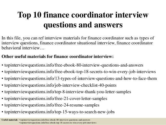 top 10 finance coordinator interview questions and answers in this file you can ref interview