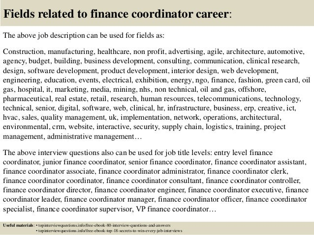 17 fields related to finance coordinator