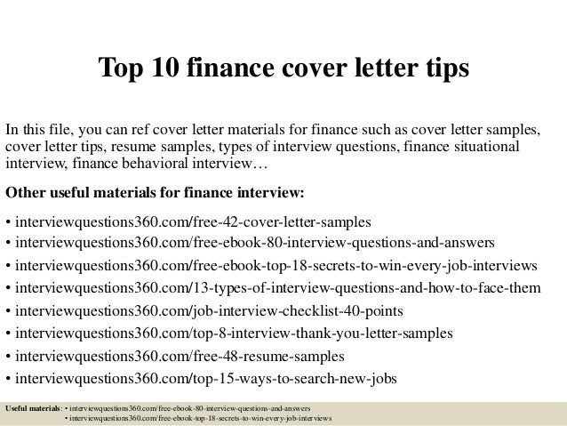 Top 10 Finance Cover Letter Tips In This File, You Can Ref Cover Letter  Materials ...