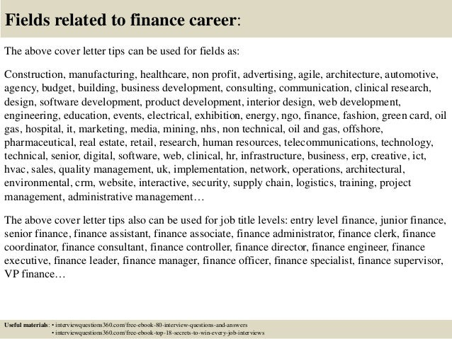 Marvelous ... 16. Fields Related To Finance Career: The Above Cover Letter ...