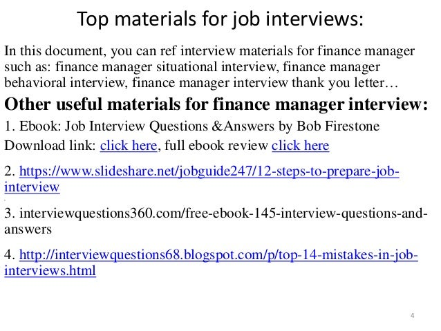 interview questions and answers for finance manager position pdf