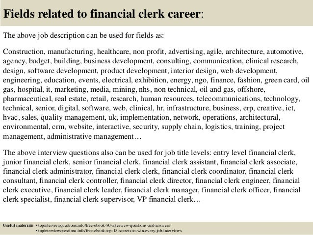 Top 10 Financial Clerk Interview Questions And Answers