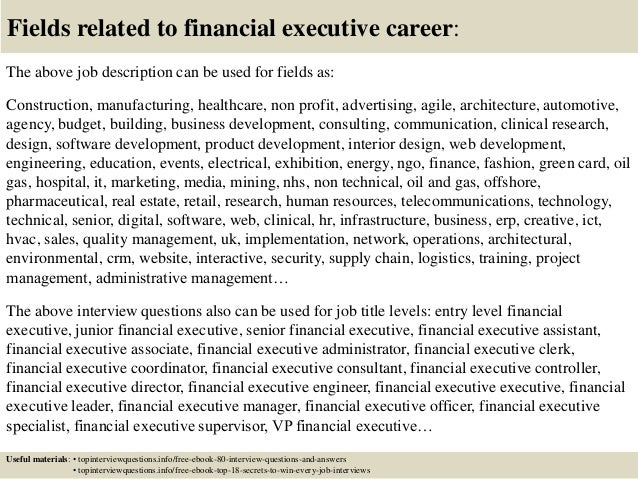 Top 10 financial executive interview questions and answers