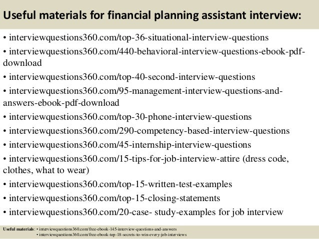 top 10 financial planning assistant interview questions