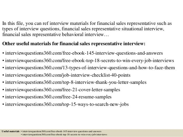 top 10 financial sales representative interview questions and answers