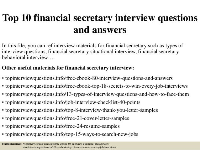top 10 financial secretary interview questions and answers in this file you can ref interview