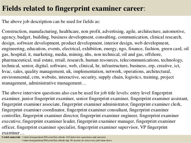 Top 10 Fingerprint Examiner Interview Questions And Answers - Latent-fingerprint-examiner-cover-letter