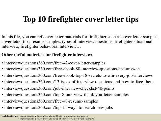 top 10 firefighter cover letter tips