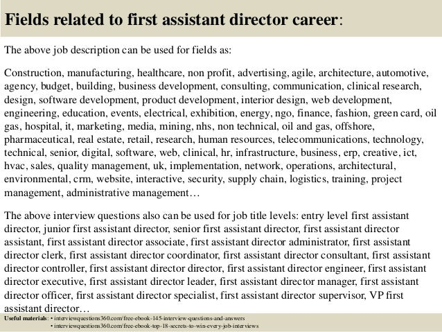 Top 10 first assistant director interview questions and answers – Assistant Director Job Description