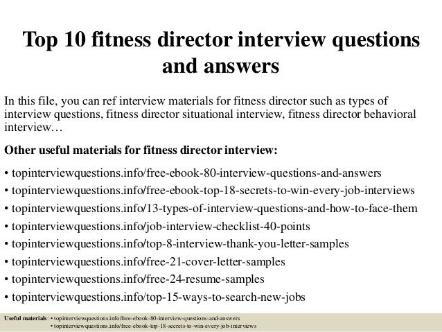 Top 10 Fitness Director Interview Questions And Answers