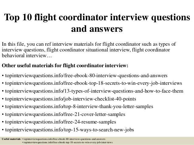 Captivating Top 10 Flight Coordinator Interview Questions And Answers In This File, You  Can Ref Interview ...