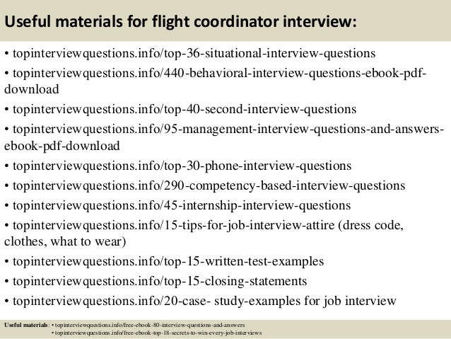 ... 12. Useful Materials For Flight Coordinator ...