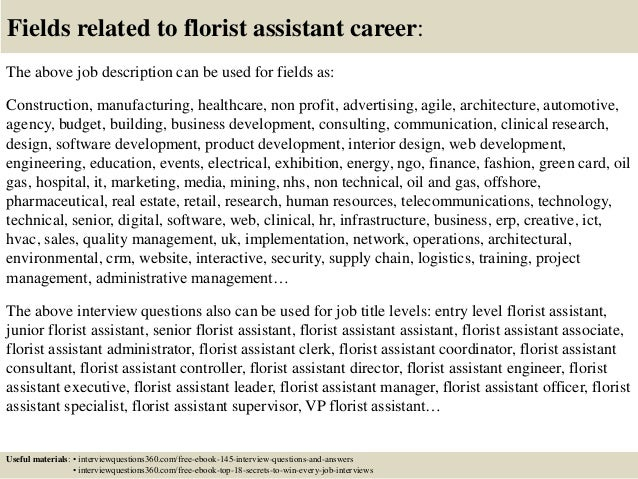 18 fields related to florist assistant career the above job description - Floral Assistant Sample Resume