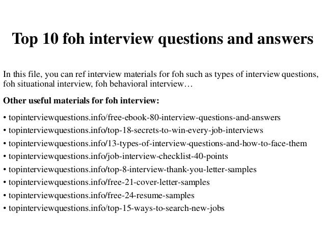 top 10 foh interview questions and answers in this file you can ref interview materials - Situational Interview Questions And Answers