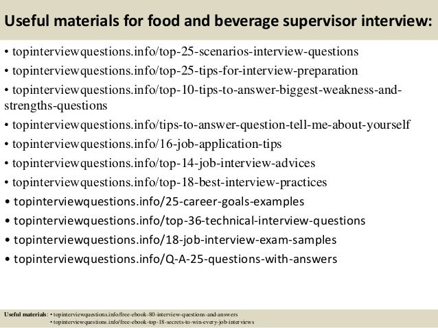 13 useful materials for food and beverage supervisor food and beverage supervisor job description