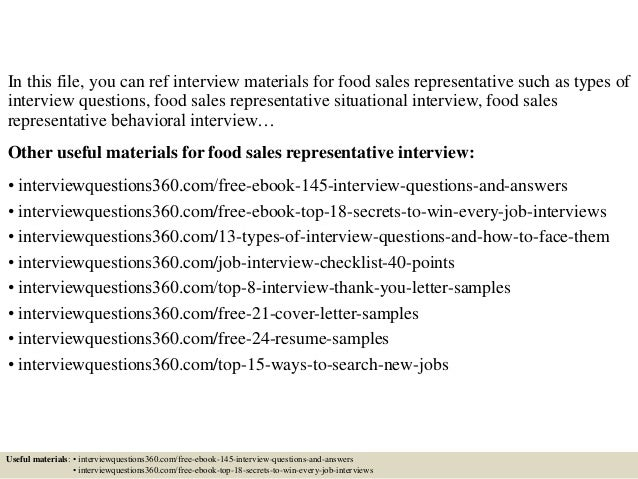 top 10 food sales representative interview questions and answers