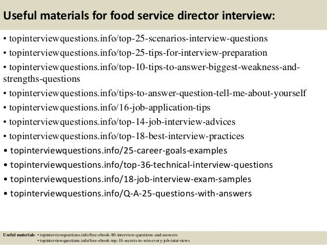 13 Useful Materials For Food Service Director Interview