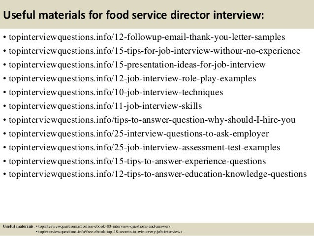 14 Useful Materials For Food Service Director Interview