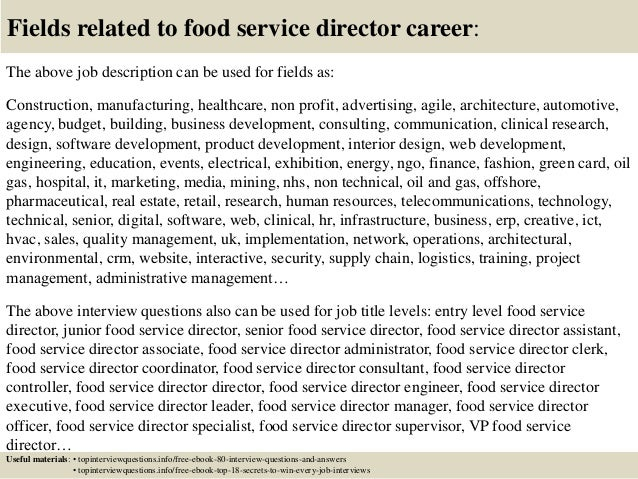 17 Fields Related To Food Service Director