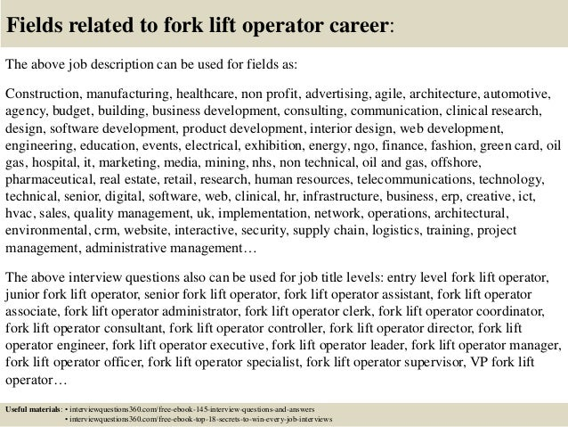Top 10 fork lift operator interview questions and answers 18 fields related to fork lift operator publicscrutiny Image collections
