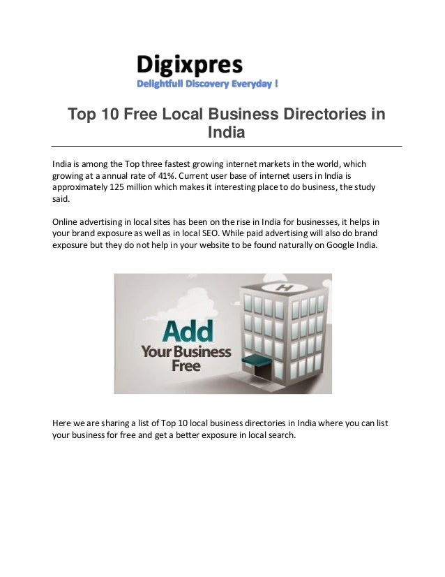 Top 10 free local business directories in india