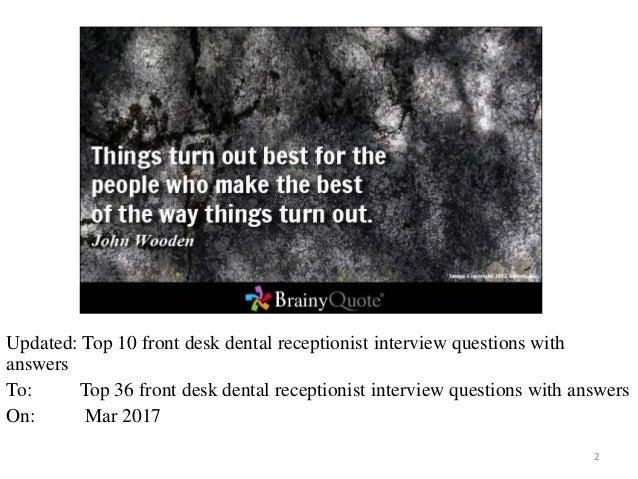 Dental Receptionist Interview Questions With Answers 1 2