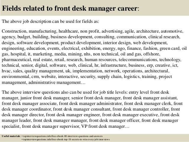 top 10 front desk manager interview questions and answers