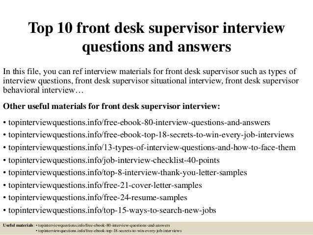 Top 10 Front Desk Supervisor Interview Questions And Answers
