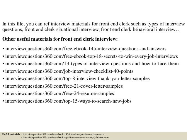 Top 10 Front End Clerk Interview Questions And Answers