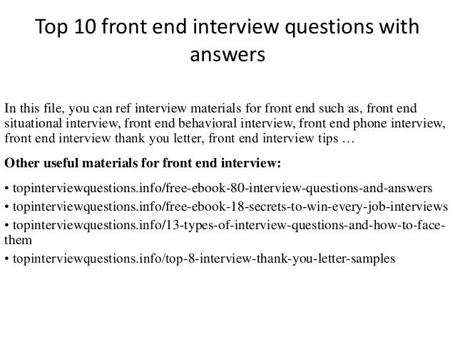 Top 10 front end interview questions with answers