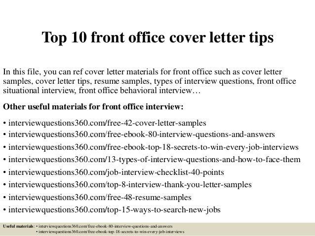 front desk cover letter