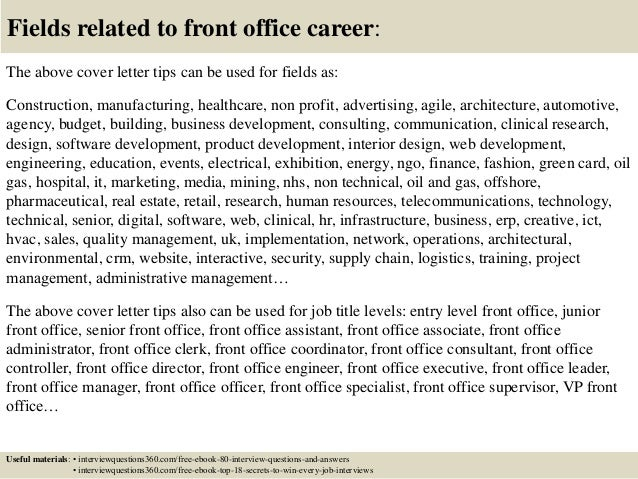 Top 10 front office cover letter tips