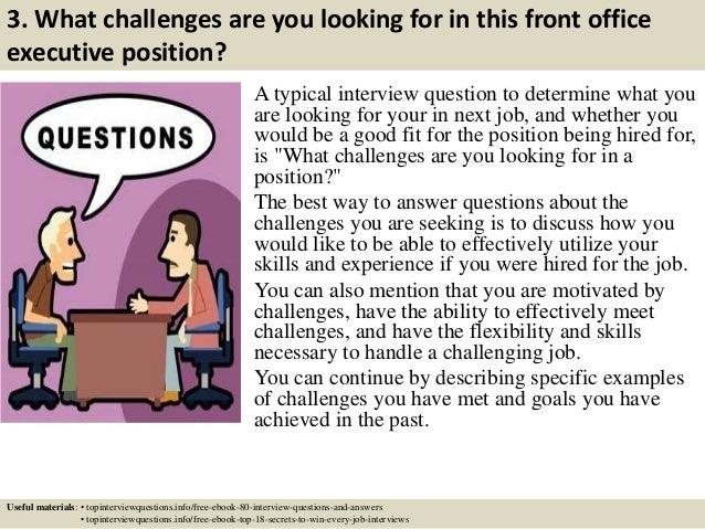 Top 10 front office executive interview questions and answers