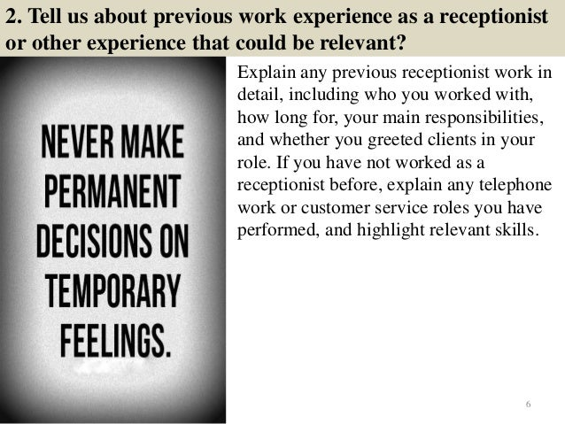 tell me about your previous work experience in customer service