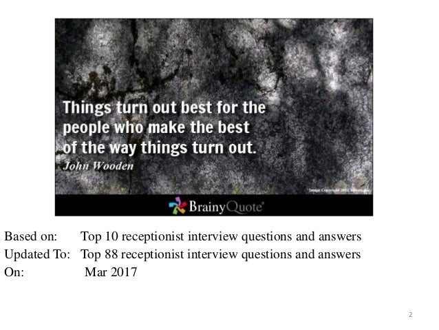 Top 10 Front Office Medical Receptionist Interview Questions And Answ