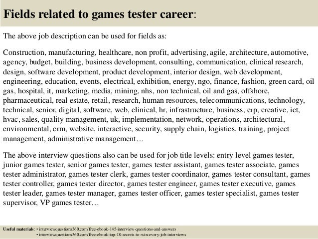 18 fields related to games tester - Video Game Testers Salary