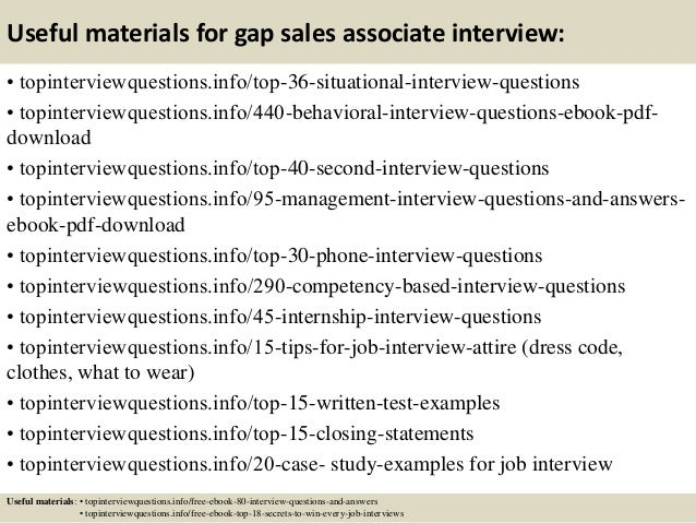 12 useful materials for gap sales associate interview - Sales Associate Sales Assistant Interview Questions And Answers