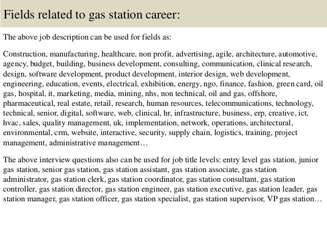 16 fields related to gas station career the above job description